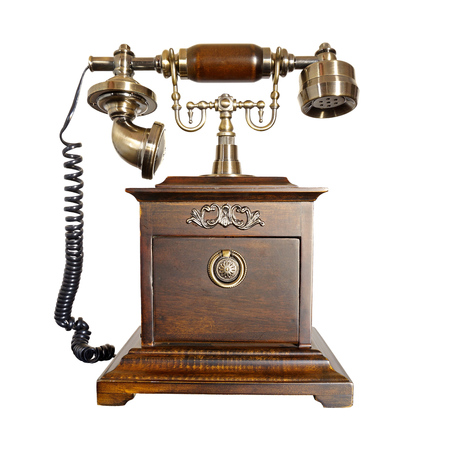 Antique Wooden Phone Isolated on White Background