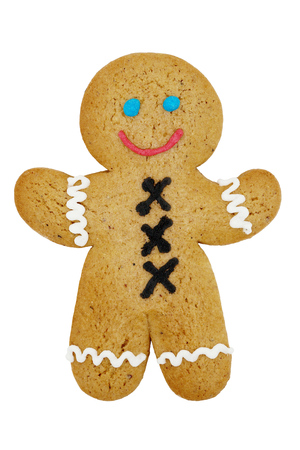 recipe decorated: Smiling Gingerbread Man Isolated on White Background