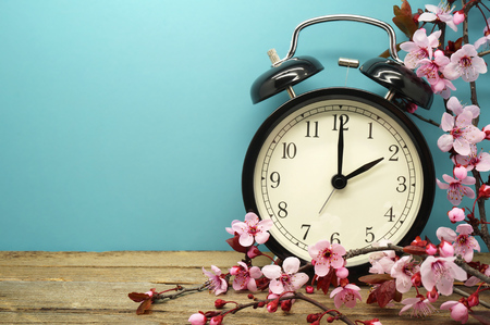 march: Spring Time Change - Pink Blossoms and an Alarm Clock on an Old Wooden Table Stock Photo