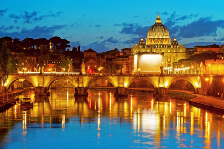 christendom: Night View at Saint Peters Basilica and Bridge SantAngelo over Tiber River in Rome