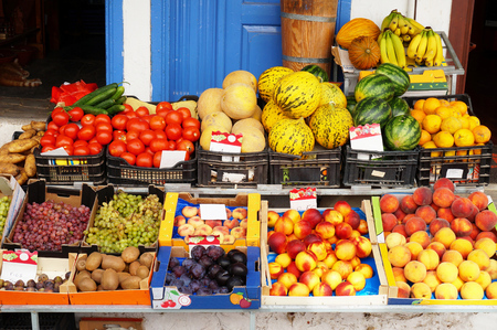 plum island: Fruits and Vegetables on the Counter of a Greengrocers Shop