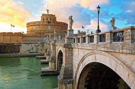 pons: Bridge SantAngelo over Tiber River in Rome