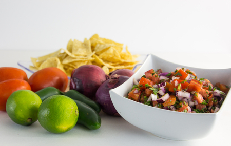 gallo: pico de gallo with onions, limes, tomatoes, tortilla chips and jalapeos