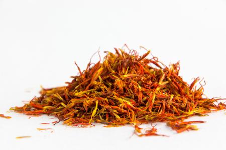 intense flavor: saffron on a white background