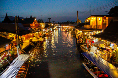 floating: Bangkok floating market at night Editorial