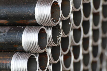 screw jack: Unfinished Threaded Pipes Stock Photo