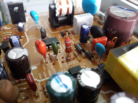 red resistor on circuit board include electrical part