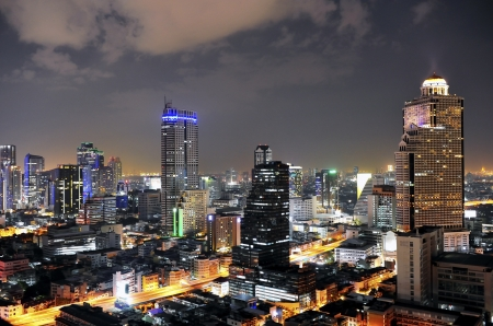 Aerial view of city skyline at night. Bangkok. Thailand. photo