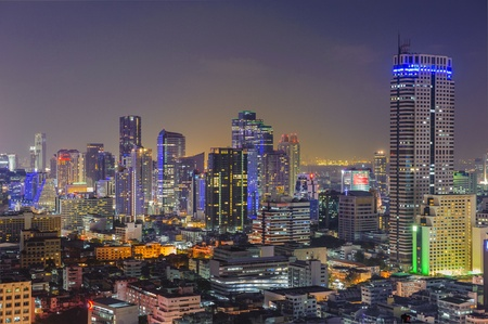 technoligy: Aerial view of city skyline at night. Bangkok. Thailand.