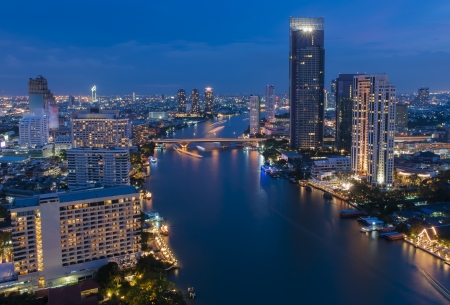 Skyscraper Bangkok downtown top View at Night from top of Thailand Stock Photo - 16450008