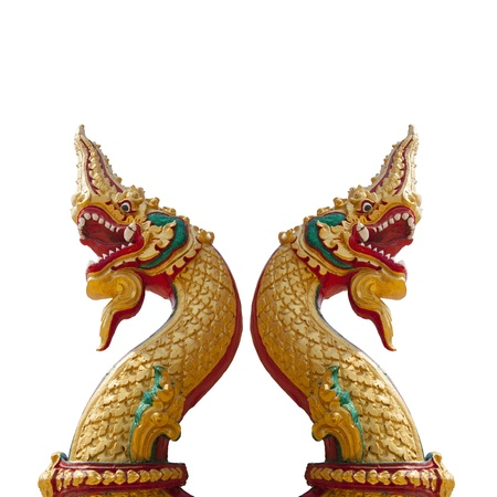 Thai dragon, King of Naga statue on white background with two heads in Thailand photo