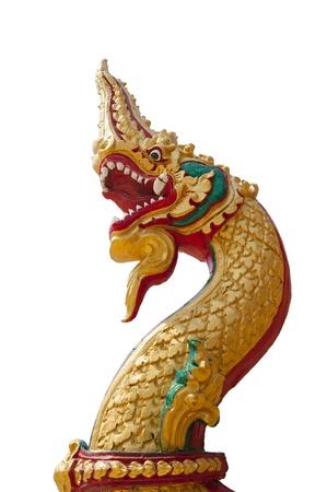 Thai dragon, King of Naga statue on white background photo