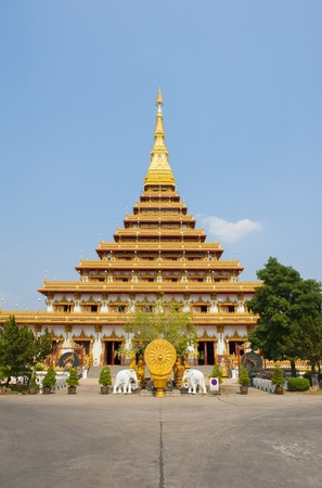 Temple with Buddha s relics on the top in Wat Nong Waeng, Khonkaen, Thailand photo