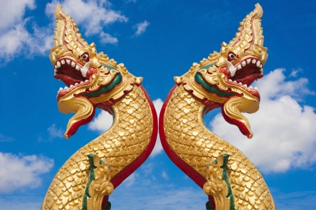 golden naga in thai temple with blue sky background photo