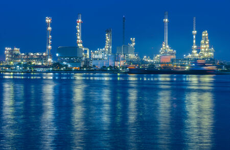 Oil refinery at twilight - factory photo