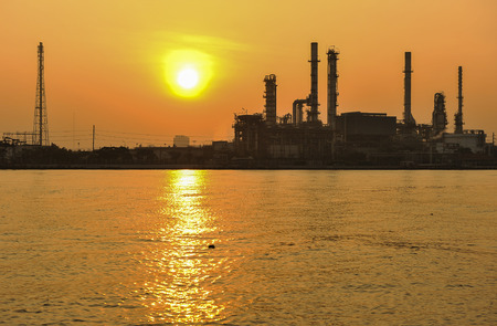 greenpeace: Oil refinery at twilight - factory