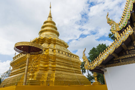 Golden Pagoda  Phra That Si Chom Thong Temple , Chiangmai, Thailand photo