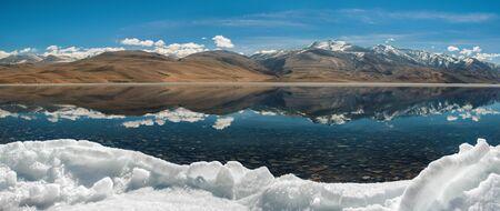 frozen lake: panorama of Tso moriri lake in leh,ladakh india.