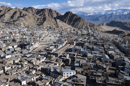 View of Leh city, the capital of Ladakh, Northern India. Stock Photo