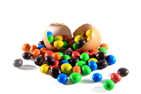 colorful candy with eggshell photo