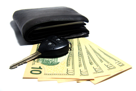 Wallet and Cash and Car key photo