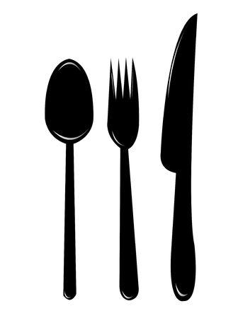 cuchara y tenedor: El esencial de la cocina, cuchillo, cuchara, bifurcaci�n enton� el dof bajo Foto de archivo