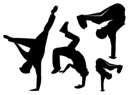 tumble down: Silhouettes of Break Dancers bboy