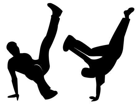 Silhouettes of Break Dancers bboy photo