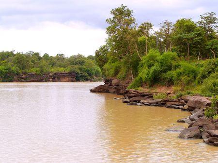 khongjiam: river  view  in  thailand          Stock Photo