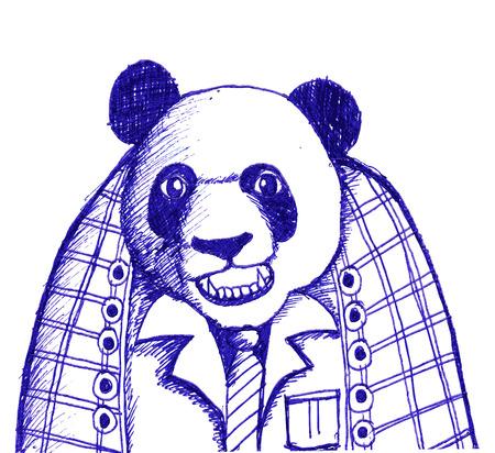 glum: sketch illustration of panda bear