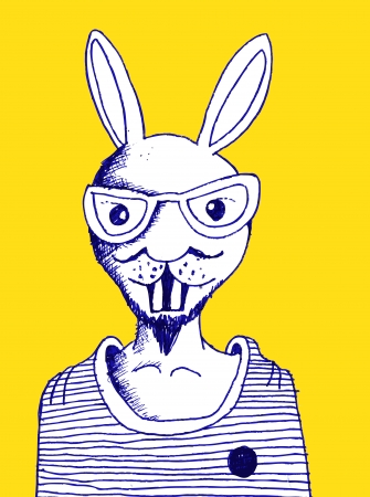 fashion illustration of rabbit man Vector