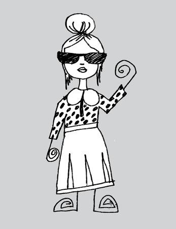 Beautiful woman cartoon in Jaidee Family Style Vector
