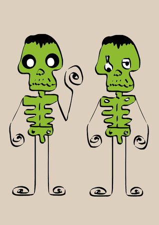 Cartoon cute monsters in Jaidee Family Style Vector