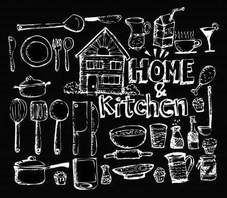 cork screw: sketch Kitchen elements doodle vector