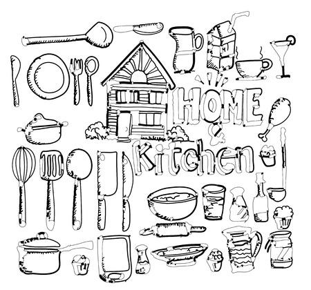 stand teapot: sketch Kitchen elements doodle vector