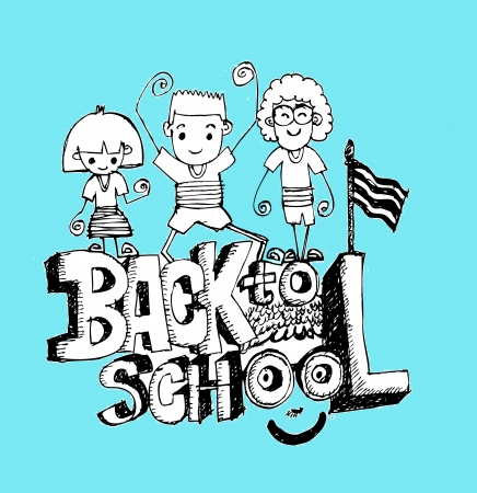 Back to school and Cute child Vector