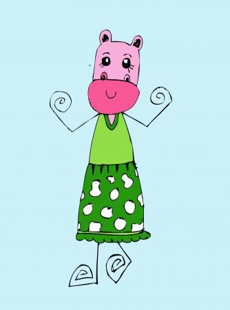 hipopotamo caricatura: Lindo hipop�tamo