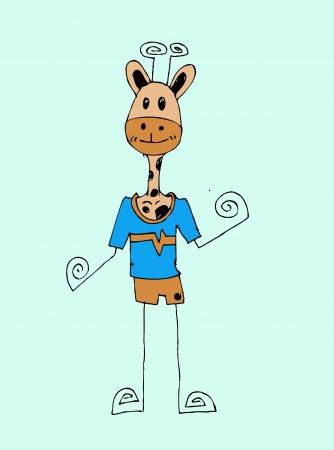 illustraiton: Cute cartoon Illustraiton Giraffe in Jaidee Family Style