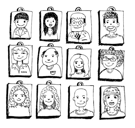 collage people: People faces cartoon