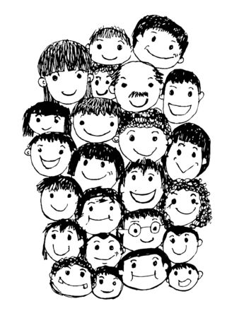 happy face: People faces cartoon