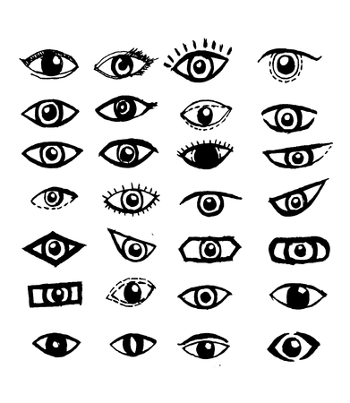 eyelids: Doodle style eyes sketch Illustration
