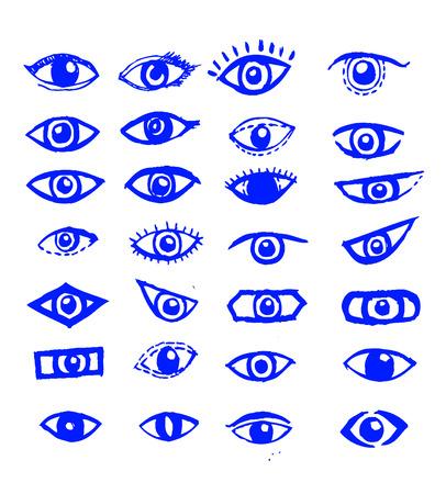 eyelids: Doodle style eyes sketch Illustration