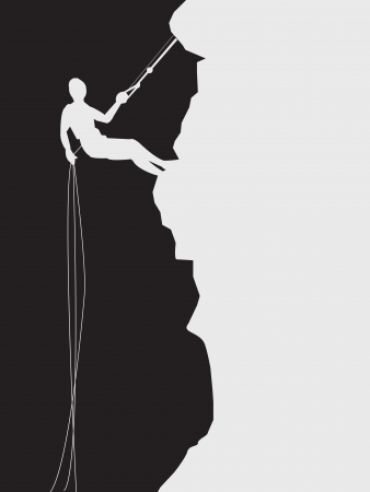 climbing cable: images of climb on a mountain