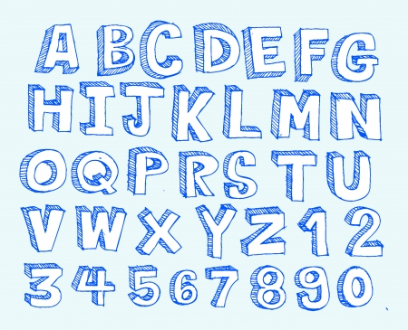 Font Sketch Hand drawing vector letters  Vector