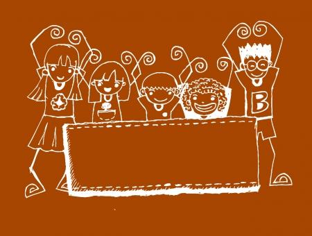 cute cartoon kids frame: Cute cartoon kids frame in Jaidee Family Style  Illustration