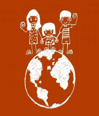 cute happy cartoon kids in Jaidee Family Style Stock Vector - 23170268