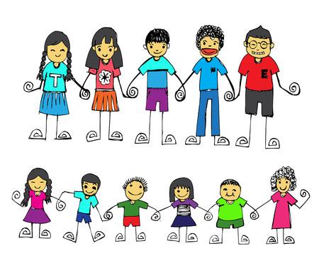 cute happy cartoon kids in Jaidee Family Style  Vector