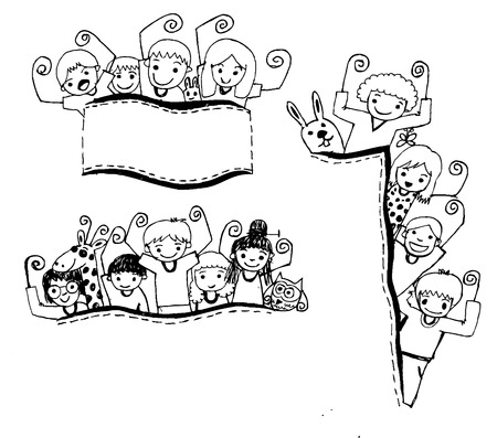 bow window: Cute cartoon kids frame in Jaidee Family Style  Illustration