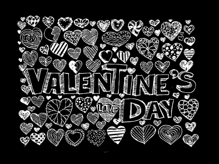 hand draw Valentine s day design, labels, icons elements collection  Vector