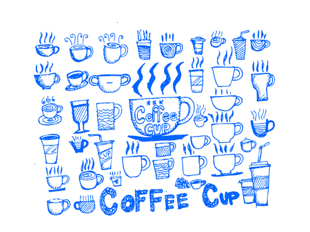 Coffee cup set hand drawing Vector